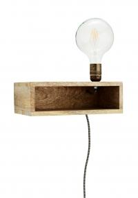 Madam Stoltz Wandlamp met Plank Hout 30 x 18 x 15 cm - Bruin