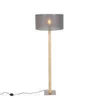Landelijke rechte vloerlamp hout met donker grijze kap 50cm - Pillar