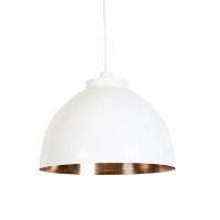 Industriele ronde hanglamp wit met koperen binnenkant - Hoodi