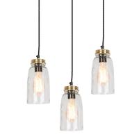Set van 3 vintage hanglampen goud met helder glas - Masons