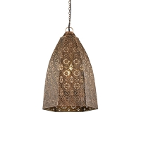 Vintage zeshoekige hanglamp antiek koper - Irene