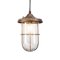 Vintage ronde hanglamp roest met glas - Porto